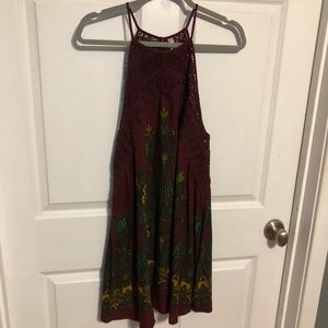 Free People High Neck Lace Maroon Slip Dress